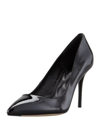 Malika Patent Pointed-Toe Pump, Black