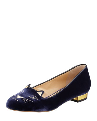Kitty Cat-Embroidered Velvet Slipper, Navy