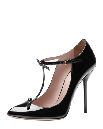 Patent T-Strap Pump, Black