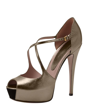 High-Heel Crisscross Pump, Gunmetal