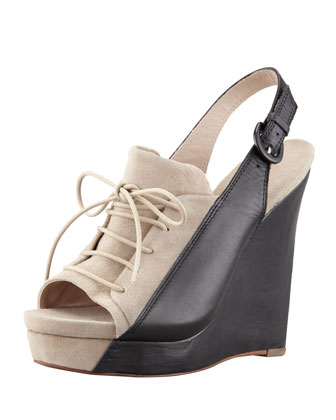GI Colorblock Lace-Up Wedge Heel, Tan