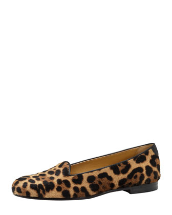 Leopard-Print Calf Hair Smoking Slipper