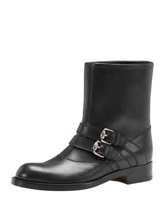 Margarett Leather Motorcycle Boot, Black