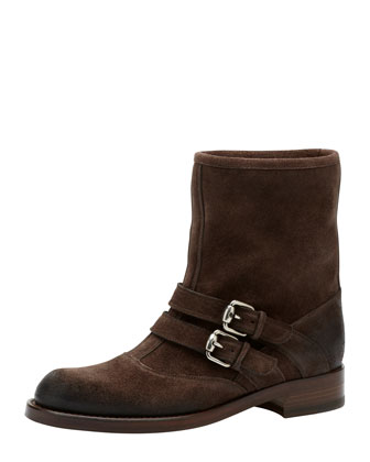 Margarett Suede Motorcycle Boot, Dark Brown