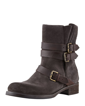 Suede Buckled Ankle Boot, Anthracite