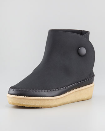 Side Button Moccasin Ankle Boot, Black