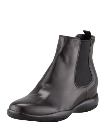 Leather Slip-On Ankle Bootie