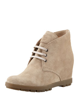 Prada Suede Wedge Lace-Up Bootie