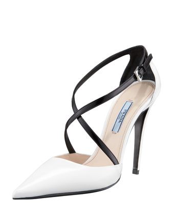 Bi-Color Decollete Crisscross Pump