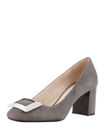 Suede Buckled Block-Heel Pump, Gray