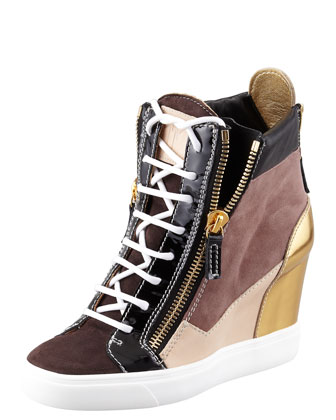 Colorblock Wedge Sneaker, Black/Brown/Gold