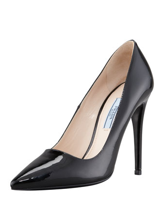 Patent Pointed Toe Pump, Nero