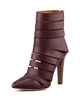 Debra Cutout Leather Bootie, Dark Brown