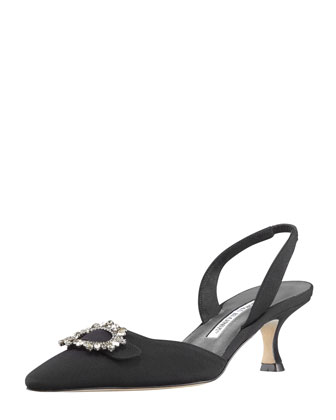 Colo Crystal-Buckle Halter Pump