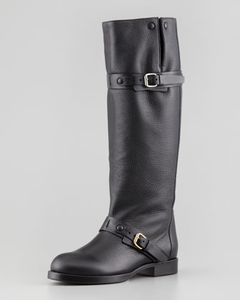 Pebbled Leather Tall Boot with Double-Buckle, Black