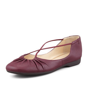 Bryan Ruched Crisscross Ballerina Flat, Port Wine