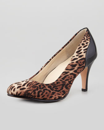 Teaneck Leopard-Print Pump, Brown Multi