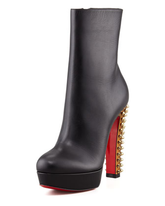 Taclou Spiked-Heel Red Sole Bootie, Black