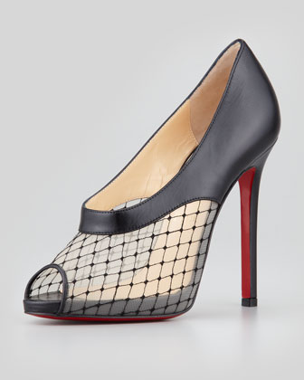 Resillana Lace-Net Peep-Toe Red-Sole Bootie, Black