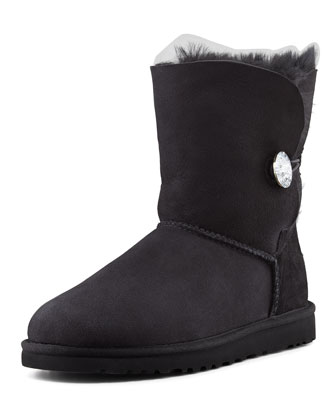 Bailey Crystal Button Short Shearling Boot, Black