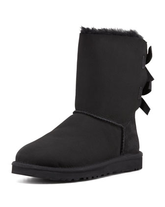 Monogrammed Bailey Bow-Back Short Boot, Black