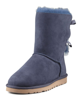 Bailey Bow-Back Short Boot & Bailey Monogrammed Bow-Back Short Boot, Navy