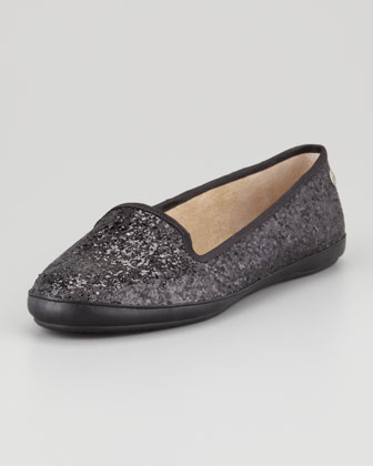 Asher -Lined Glitter Loafer, Black