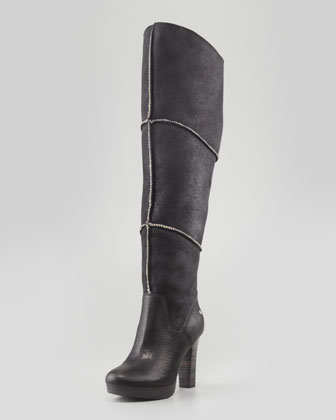 Dreaux High Heel Knee Shearling Boot, Black