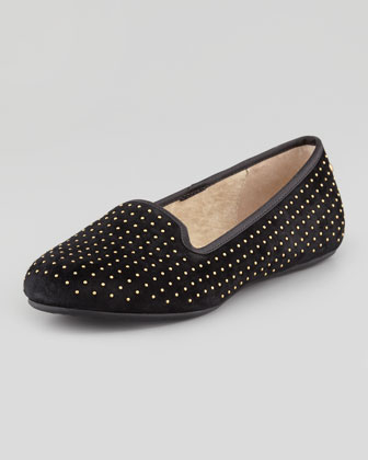 Alloway Studded Suede Loafer, Black