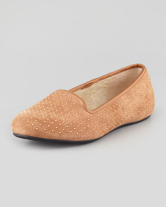 Alloway Studded Suede Loafer, Chestnut