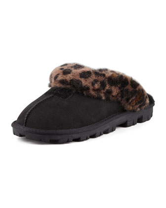 Leopard-Print Mule Shearling Slipper, Black