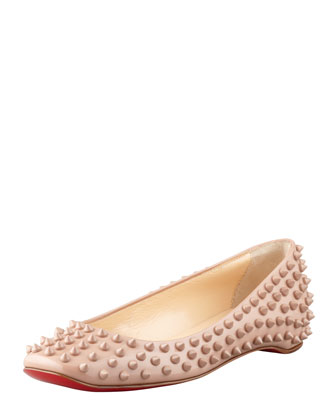 Gozul Spiked Patent Leather Flat, Beige