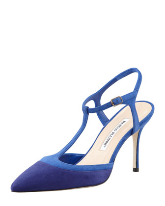 Wotton Suede T-Strap Pump, Dark Blue