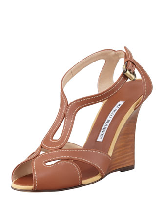 Bran Strappy Leather Wedge Sandal, Luggage