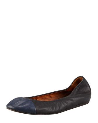 Scrunched Cap-Toe Ballerina Flat, Black/Blue