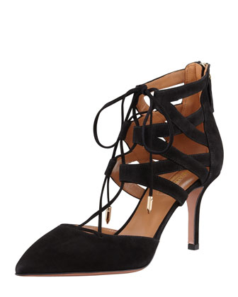 Belgravia Lattice Suede Sandal, Black