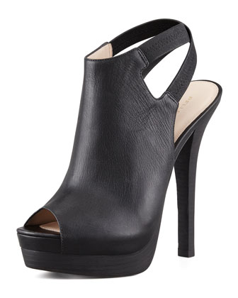Crissy Slingback Leather Platform Bootie, Black