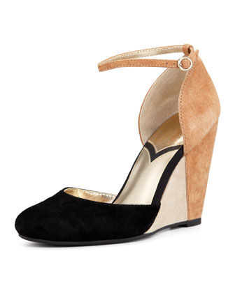 Fight Fire With Fire Colorblock Suede Wedge, Black