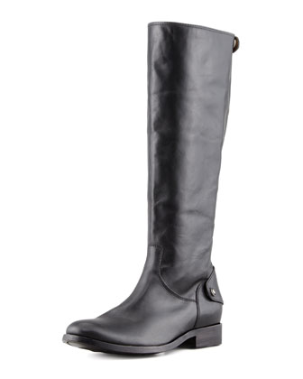 Melissa Leather Back-Zip Extended Claf Boot, Black