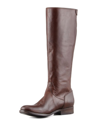 Melissa Zip Riding Extended Calf Boot, Dark Brown