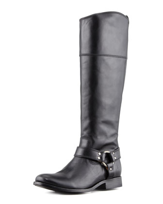 Melissa Harness Riding Extended Calf Boot, Black