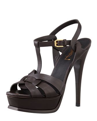 Tribute High-Heel Leather Sandal, Chocolate