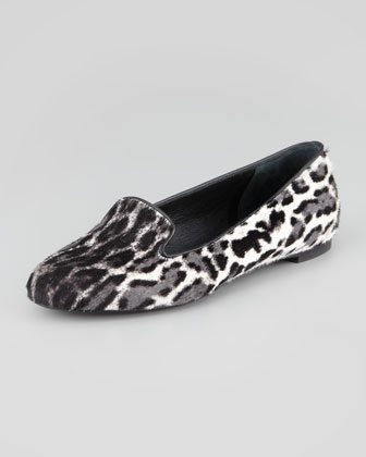 Leopard-Print Calf Hair Smoking Slipper, Black/White
