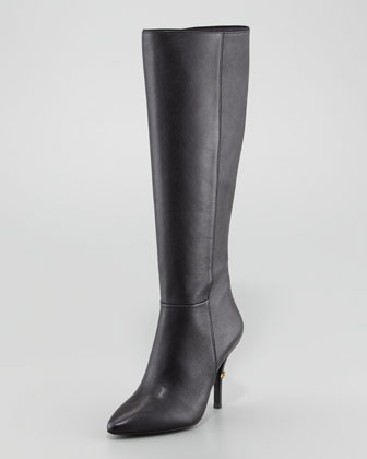 Bernice Leather Logo-Heel Boot