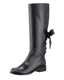 Valentino Ascot Ribbon Lace-Up Riding Boot, Black