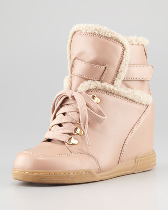 Leather & Faux-Shearling Wedge Sneaker