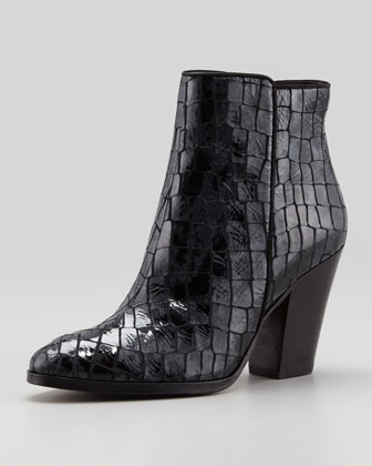 Swift Croc-Embossed Ankle Boot,Pewter