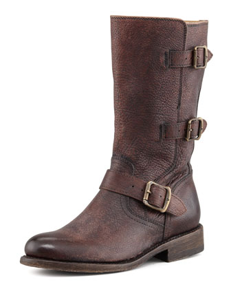 Jayden Motorcycle Buckle Boot, Dark Brown