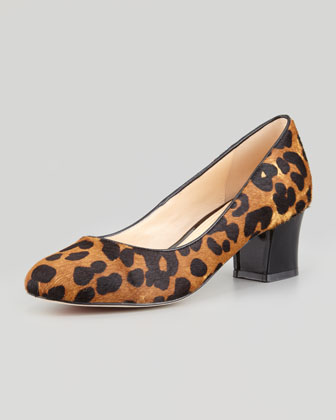 Chelsea Leopard-Print Calf Hair Low-Heel Pump