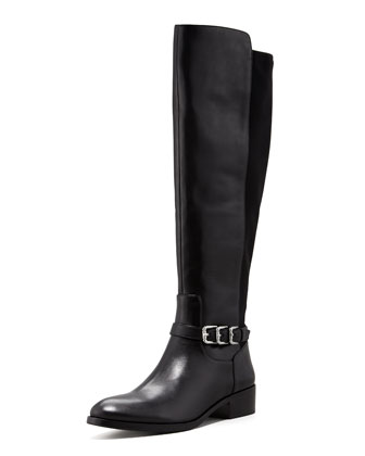 Nellie Leather Riding Boot, Black